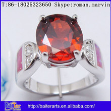 Fashion New Ring Design Red Stone Silver Ruby Engagement Rings