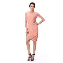 2015 New Designer One Piece Dress with Belt Lace Fashion Dress for Ladies