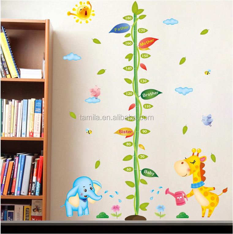 Fashion Kids Height Growth Chart Wall Stickergiraffe Wall Chart For