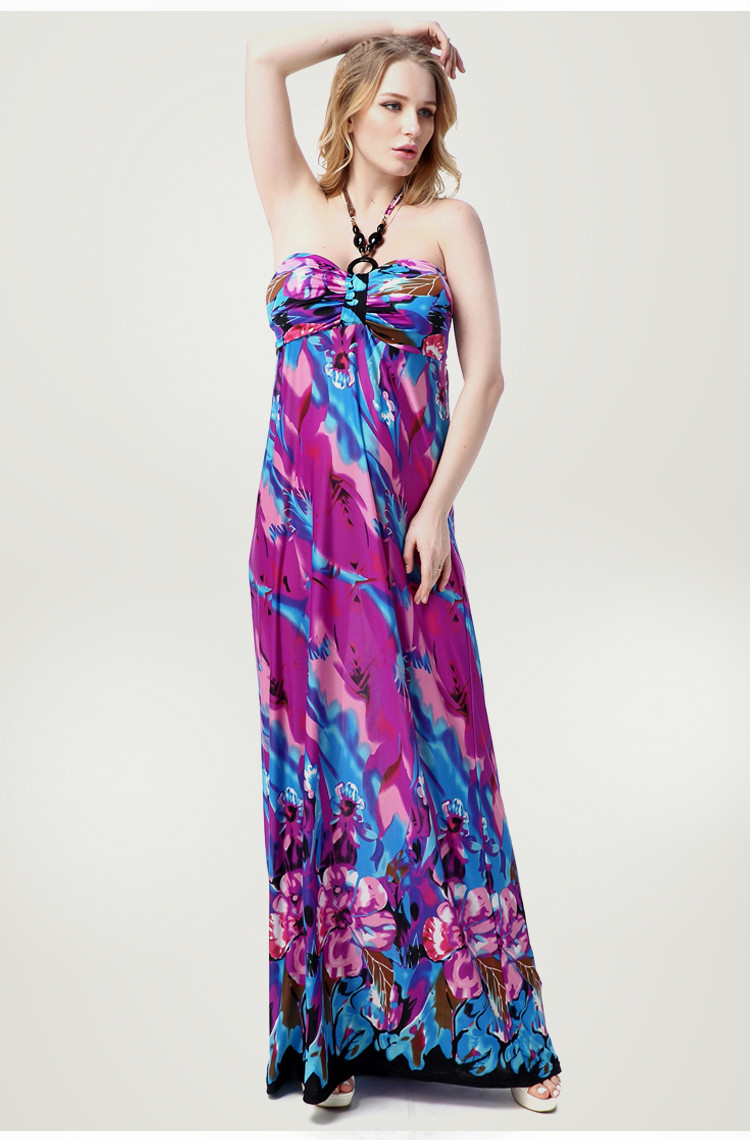 XL-7XL verano estilo Halter Vestido de playa Maxi vestido de tamaño ...