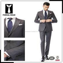 2016 de alta qualidade de moda de nova 100% lã cinza stripe dois botões de ação de graças projetos uniformes escritório