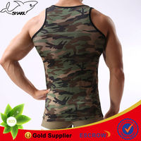 Wholesale high quality bodybuilding tank top male body shaper army style with camo printing
