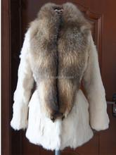 QC9181-11 beige patchwork natural rabbit fur winter coat women overcoat with big raccoon dog fur trim