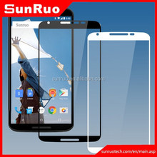 Tempered glass for screen protector Google nexus 6, black and white color full edge to edge glass screen film for Nexus 6
