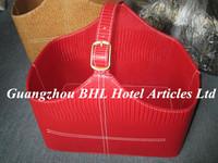 Hotel Supply Handmade Faux Leather Sundries Storage Basket Wedding Gift Basket Portable Picnic Basket Leather Wine Carrier L21-8