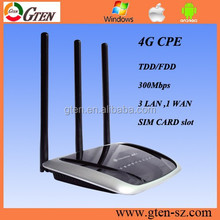 OEM tech support 300Mbps wanlan4g modem lte router wifi with sim card slot with 3 X external antenna for Enterprise and building