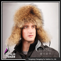 CX-C-47A Earflap Russian Hat Genuine Raccoon Men Caps And Hats