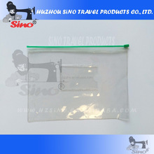 simple transparent PVC bag with pocket for namecard with zipper seal