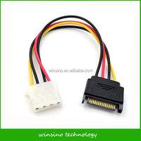 20cm SATA 15Pin Male Power Connector to Molex IDE 4Pin Female Adapter Cable PSU