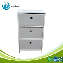 New product high quality MDF storage shelf with 3 fabric drawers