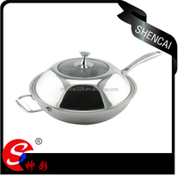 High Quality 3 ply Stainless Steel Frying Pan / Wok Pan