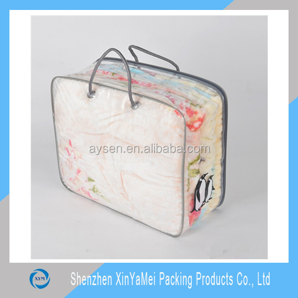 strong 0.14mm PVC plastic cushion bag with rope handle cheap price