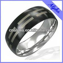 fashion stainless steel shiny black dot ring