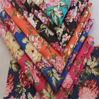Wholesale big peony design printed 98% Cotton 2% elastane fabric for garment pants