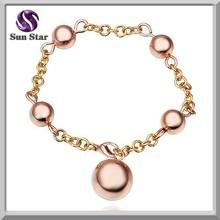 Moda chapado en oro de 925 pulsera de plata con oro rosa cuelga
