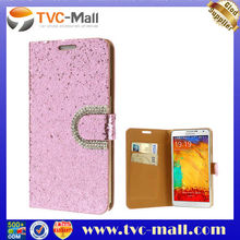 Pink Shiny Sequin Diamond Leather Cover Case for Samsung Galaxy Note 3 N9000 N9005