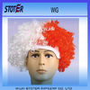 Euro cup promotional factory direct factory direct PET red white sport Wig
