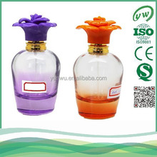 Hot sale 60ml empty perfume spray with flower cap glass bottles with pump glass bottles