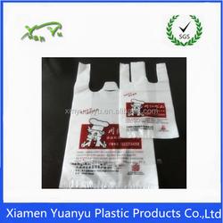 China hot selling white custom printed plastic t shirt bags for shopping