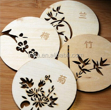 Carved Wood Wooden pad Holder Coaster Coffee Tea Drink Cup Mat Place Natural new