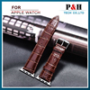 42mm Two- layer Alligator Leather Watch Band Leather Watch Strap for Apple Watch