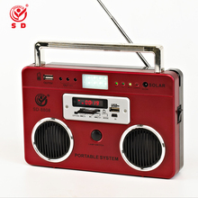 portable lighting radio fm tf usb mp3 music player with one solar panel