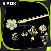 Home decoration project electroplated curtain rod, modern luxurious curtain pole whole set good supplier