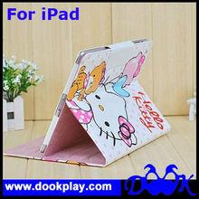 Designer Folio PU Leather Cover For iPad 2 Hello Kitty Case for iPad3