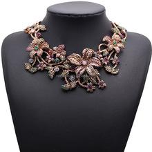 Fashion flower statement necklace crystal collar 2015 with rhinestone