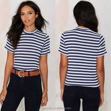 China Hot Sale Classical Lever Blue & White Stripes Short Sleeve Ribbed Knit Shirt
