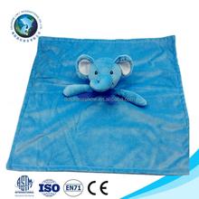 Promotional cute animal head plush baby blanket fashion soft plush blue elephnat organic cotton baby blanket