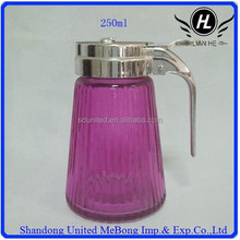 wholesale 250ml purple-red round glass oil bottle with handle