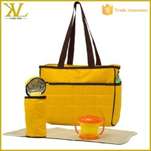 Fashion Yellow Quilted Travel Baby diaper bag, Diaper Tote bag