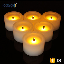 2015 White Base Yellow Flickering Black Wick Wax Led Candle With Timer For decoration