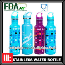 Blue Handle Lid Stainless Steel Mineral Water Bottle
