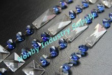 Clear and blue color customized size crystal bead chain curtain