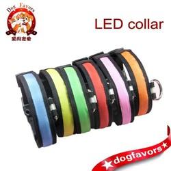 Large and small LED light dog collar dog collar pet collar nylon webbing luminous collar