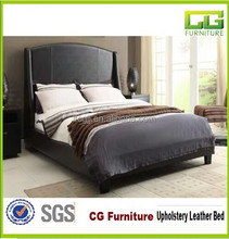 Black Faux Leather Queen Platform Bed For Home Bedroom Furniture