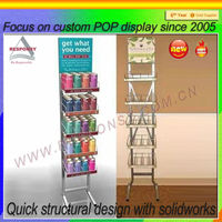 Multi-tiered metal custom slatwall floor liquid shampoo & bath cream display stand display shelf for pop/pos