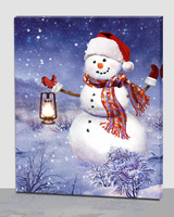 stock Xmas decorations snowman canvas picture led ,art picture