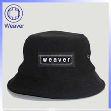 Fashion plain black nylon bucket hat wholesale