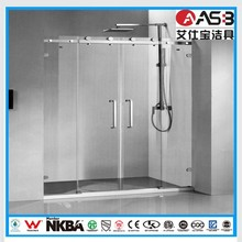 bathroom 6mm Toughened Glass shower pull handle sliding door