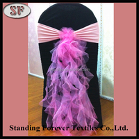 Wholesale popular selling wedding pink party decoration organza chair sash from China factory