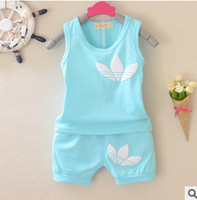 Summer Classy Children Clothing Sets Candy Cotton Sleeveless Sweat Clothing