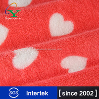 2015 New arrival Hot item 100% polyester double heart print Coral fleece fabric for shose women wholesales inquiry now