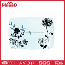 Water lily print oblong china plastic cheap sell eco friendly melamine plate