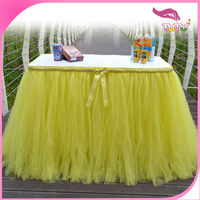 wholesale decoration table skirt yellow tulle table tutu skirt for wedding,party,banquet,festival, celebration,birthday
