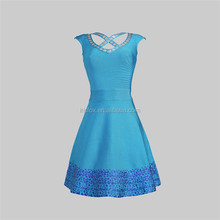 fast delivery no MOQ modern blue printed cheap girl cocktail dress under 30