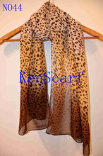 Top Fashion 2015 New Fashion Women Stylish Polyester Chiffon printing leopard dark to light color Long Scarf