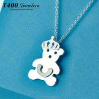 T400 fashion jewelry S925 silver necklace Little Bear pendant for Christmas gift